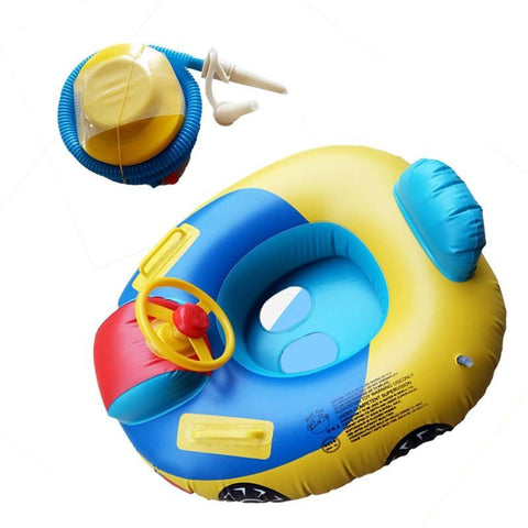 2pcs Steering Wheel Inflatable Swimming Laps Pool Swim Ring Seat Float Boat for Children Kids (Swimming Ring and Inflator)
