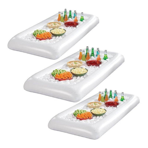 3pcs PVC Inflatable Dishes Plates Salad Buffet Ice Cooler Picnic Drink Table Party Camping Dishes Plates