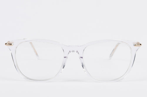 Arnavo - Front view of clear transparent optical frame with free prescription lenses and free worldwide shipping