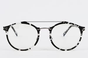 grey and black tortoise shell prescription glasses with double bridge