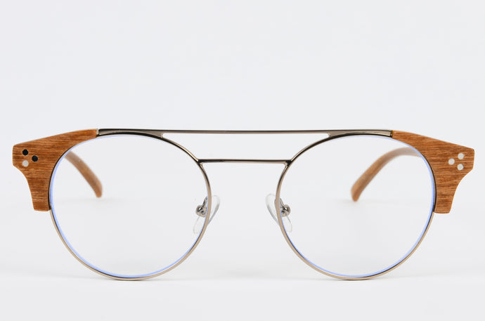Eco-Friendly wooden optical frame with round lenses and wooden corners and a double titanium bridge