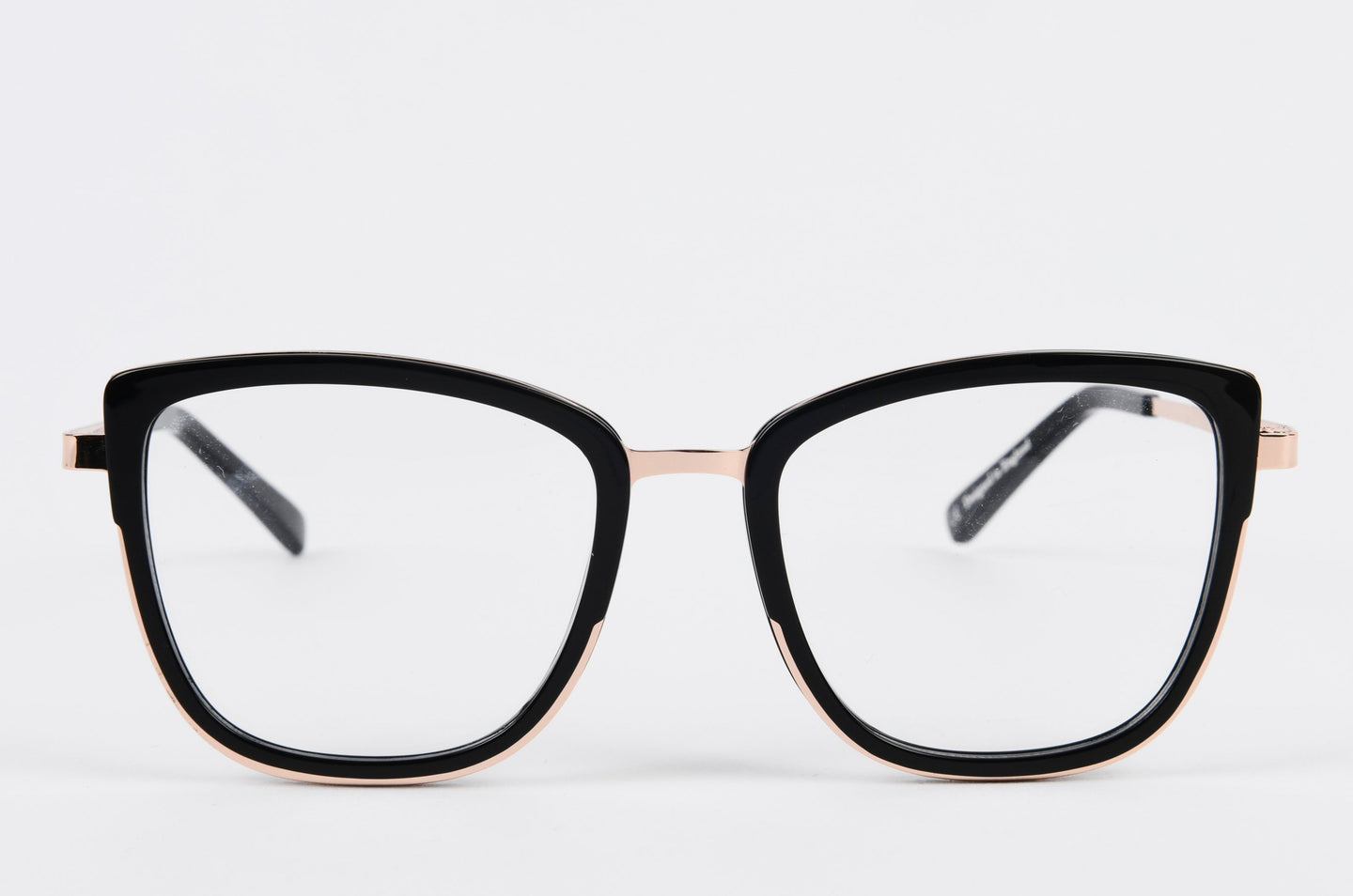 black and gold winged optical prescription glasses frame