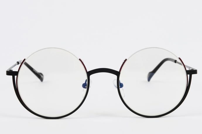 Black Round Optical Glasses with Half Rim