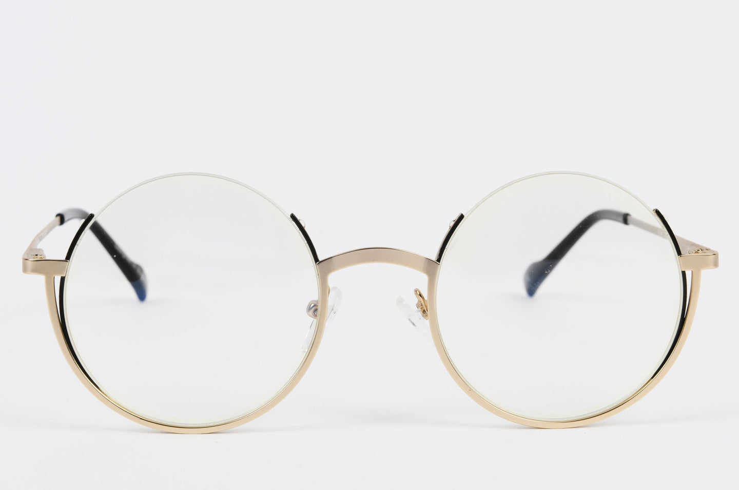 Round gold glasses frame with prescription lenses