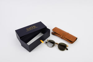 Sunglasses frame with box packaging and leather personalised glasses case