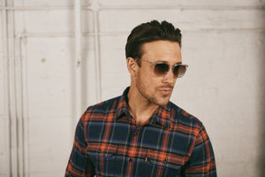 Man in checked shirt wearing sunglasses