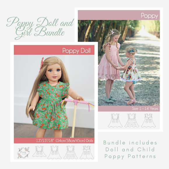 Bundle Doll and Child Poppy Dress <br> Digital Sewing Pattern