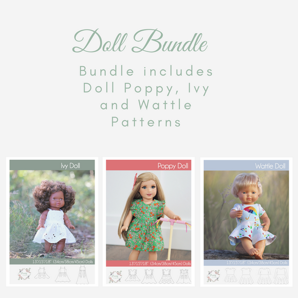 Bundle Doll Ivy, Doll Poppy and Doll Wattle Dress <br> Digital Sewing Pattern