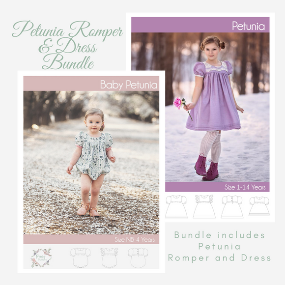 Bundle Petunia Romper and Petunia Dress  <br> Digital Sewing Pattern