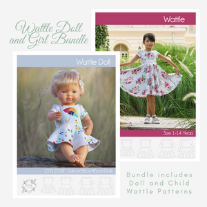 Bundle Doll and Child Wattle Dress <br> Digital Sewing Pattern