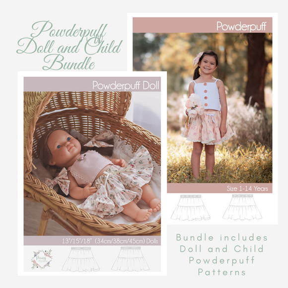 Bundle Doll and Child Powderpuff <br> Digital Sewing Pattern