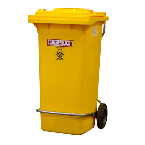 Bio Hazard Wheelie Bin 120 litres with Stainless Steel Foot Pedal - SSS Australia Clearance