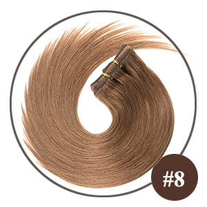 Light Ash Brown Remy Hair Clip In Extensions - Color #8