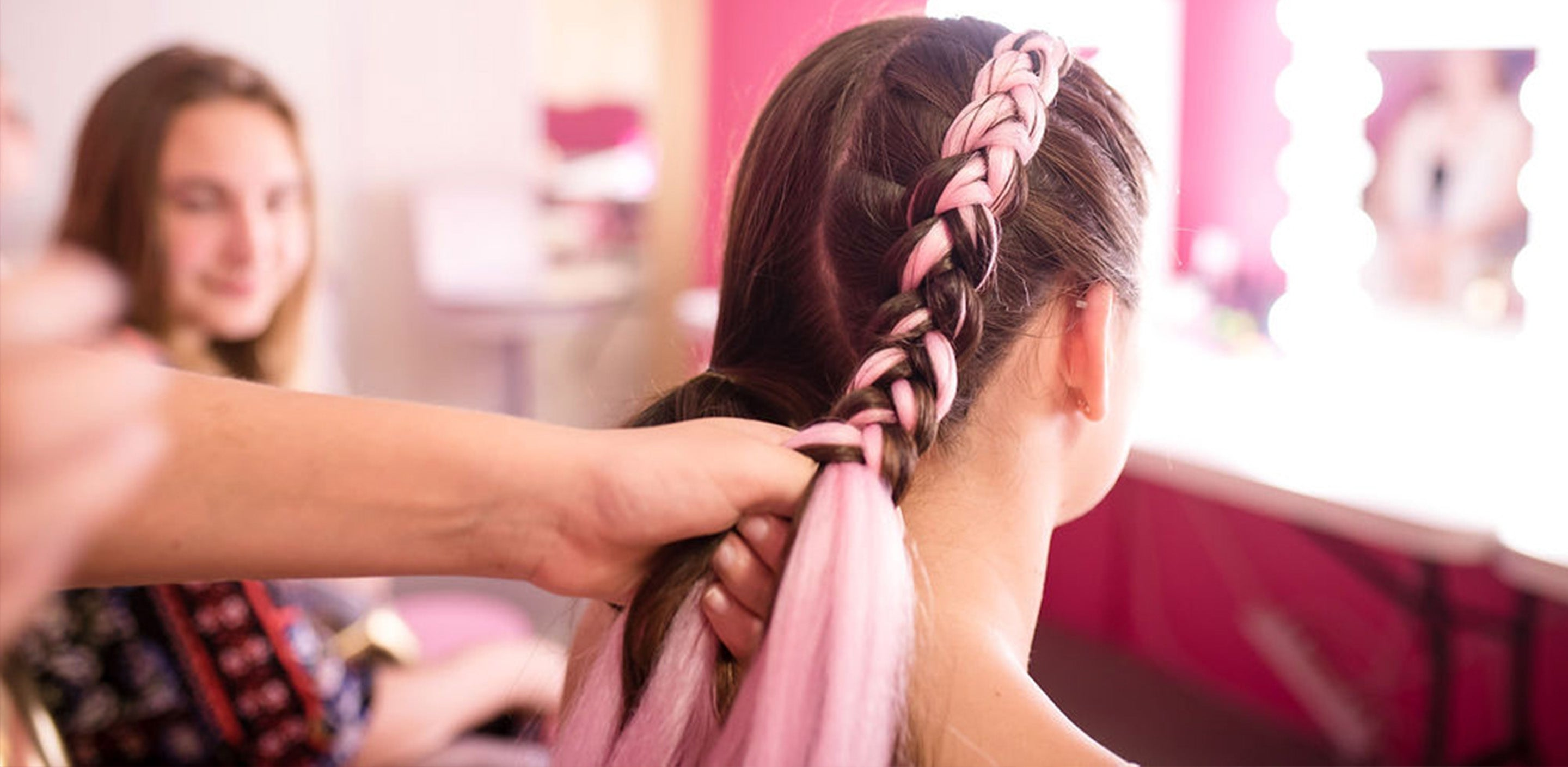 unicorn braids - pink colour braid extensions gold coast day spa for kids