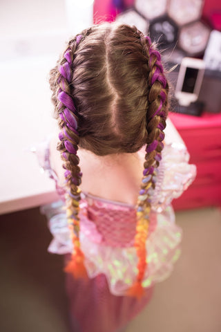 Unicorn braid extensions for school holidays - gold coast salon for kids