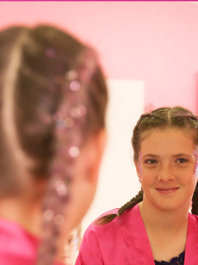 glitter braids with glitter girl makeup pamper pary kids day spa