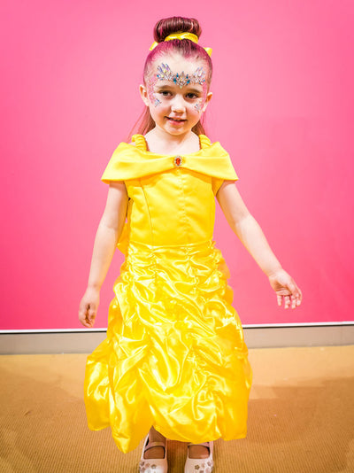 Belle princess yellow beauty and the beast party dress for girls