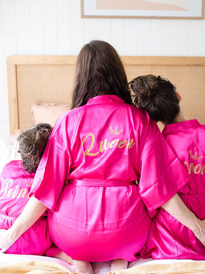 Queen robe - mummy and me prink dressing gown robes - princess and queen robes combo