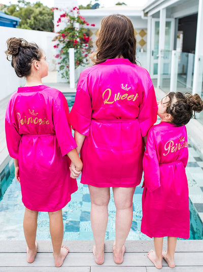 mummy and me prink dressing gown robes - princess and queen robes combo