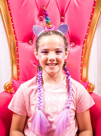 unicorn makeover glitter makeup colour braid extensions - gold coast day spa - pamper parties for kids