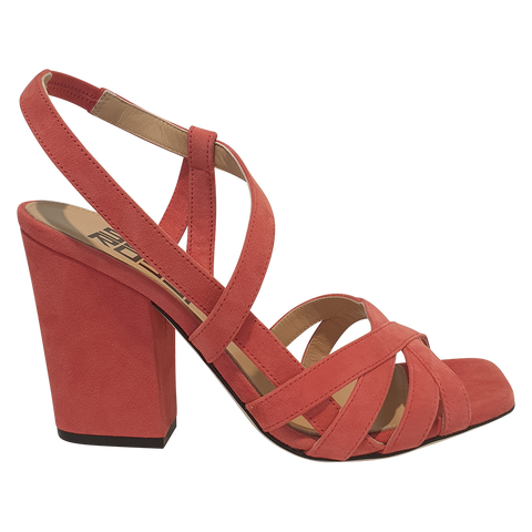 SERGIO ROSSI SANDALE CROSSED BANDS SUEDE CORAIL Heel 90mm