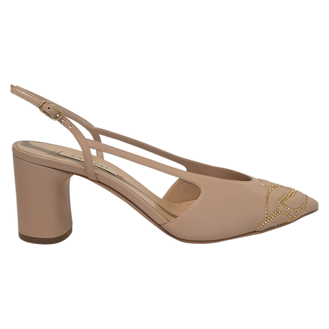 CASADEI SLINGBACK LEATHER NUDE Heel 60mm