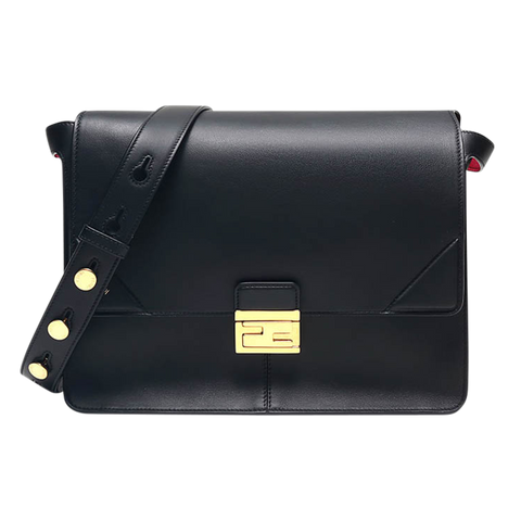 FENDI SHOULDER BAG KAN I LARGE LEATHER BLACK