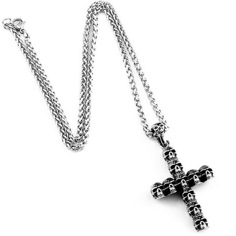 Dödskalle Halsband Christian Cross