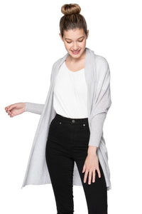 Subtle Luxury 100% Cashmere Cocoon Shawl Jacket- Glass Grey