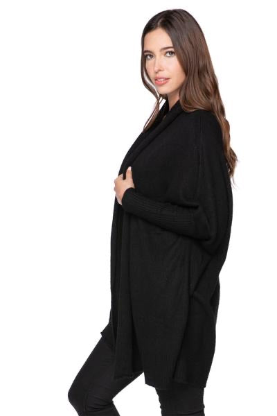 Subtle Luxury 100% Cashmere Cocoon Shawl Jacket- Black