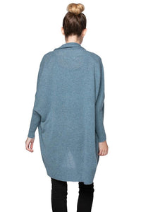 Subtle Luxury 100% Cashmere Cocoon Shawl Jacket- Coastal Mist