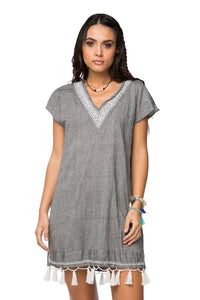 Subtle Luxury Fringe Tassel Dress- Charcoal