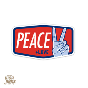 "Peace and Love : 3"" Vinyl Sticker"