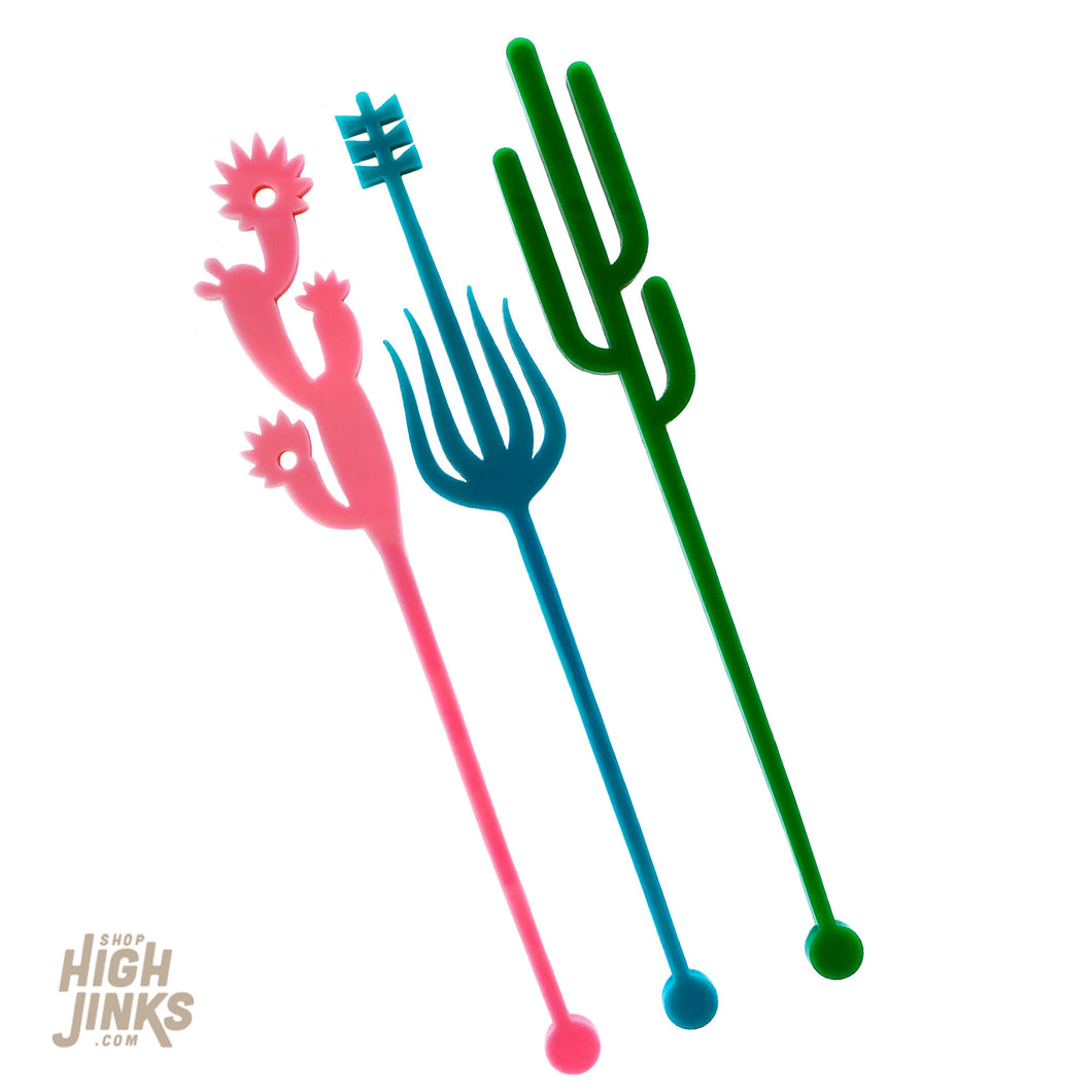 Cactus Trio Swizzle Sticks