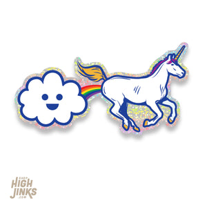 "Farting Rainbows : 3.25"" Glitter Vinyl Sticker"