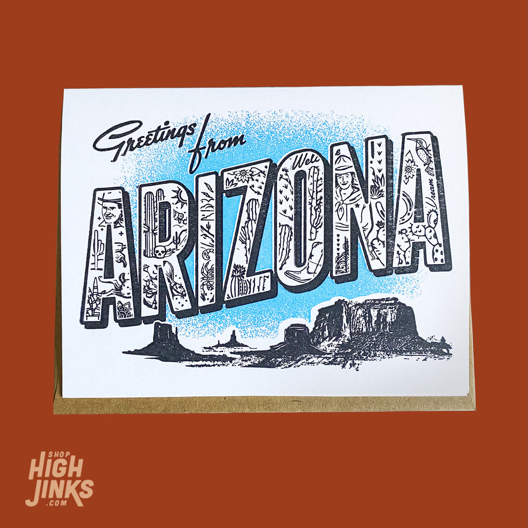 Greetings from Arizona : Letterpress Card