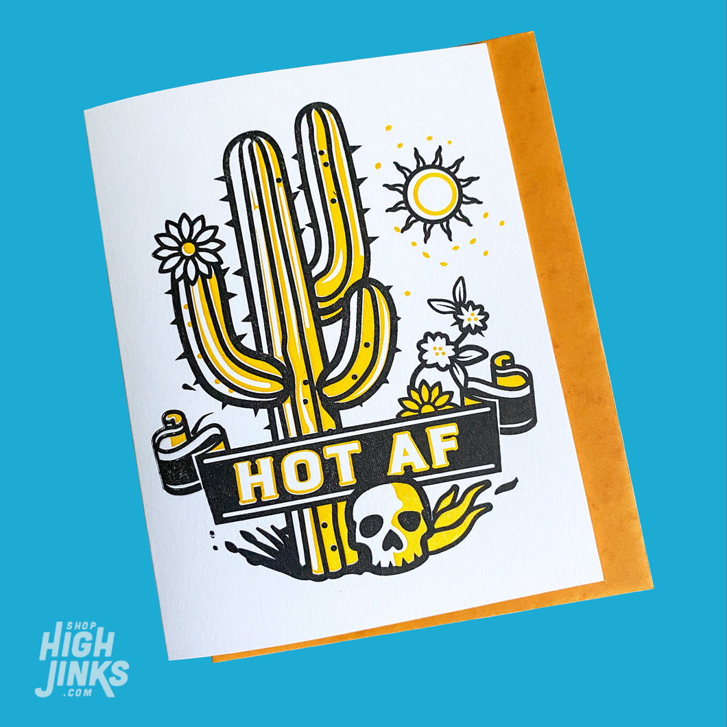 HOT AF : Letterpress Card
