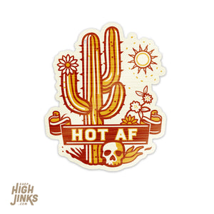 "HOT AF : 2.75"" Metallic Finish Vinyl Sticker"