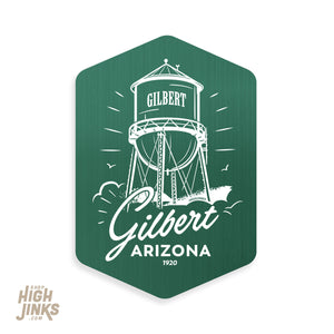 "Local Love Gilbert Water Tower : 3.5"" Brushed Aluminum Vinyl Sticker"