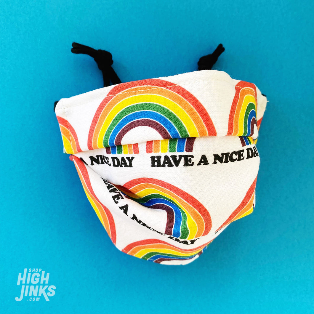 100% Cotton Washable Face Mask : Have A Nice Day Rainbow