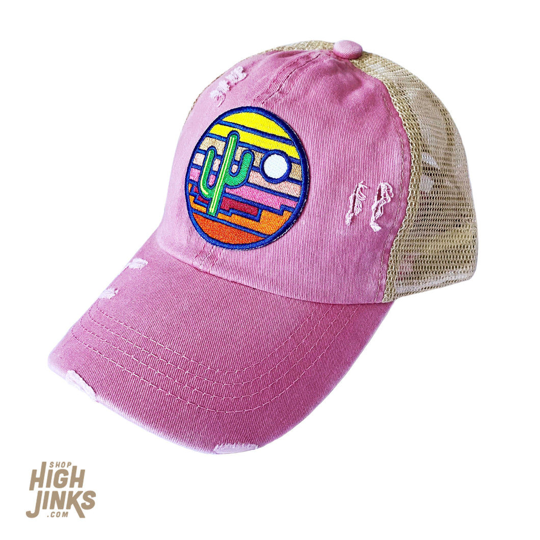 Stained Glass Sunset : Ponytail Trucker Hat