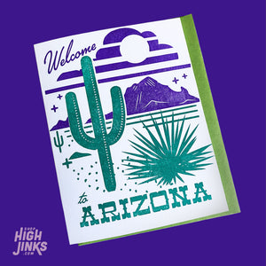 Welcome to Arizona : Letterpress Card