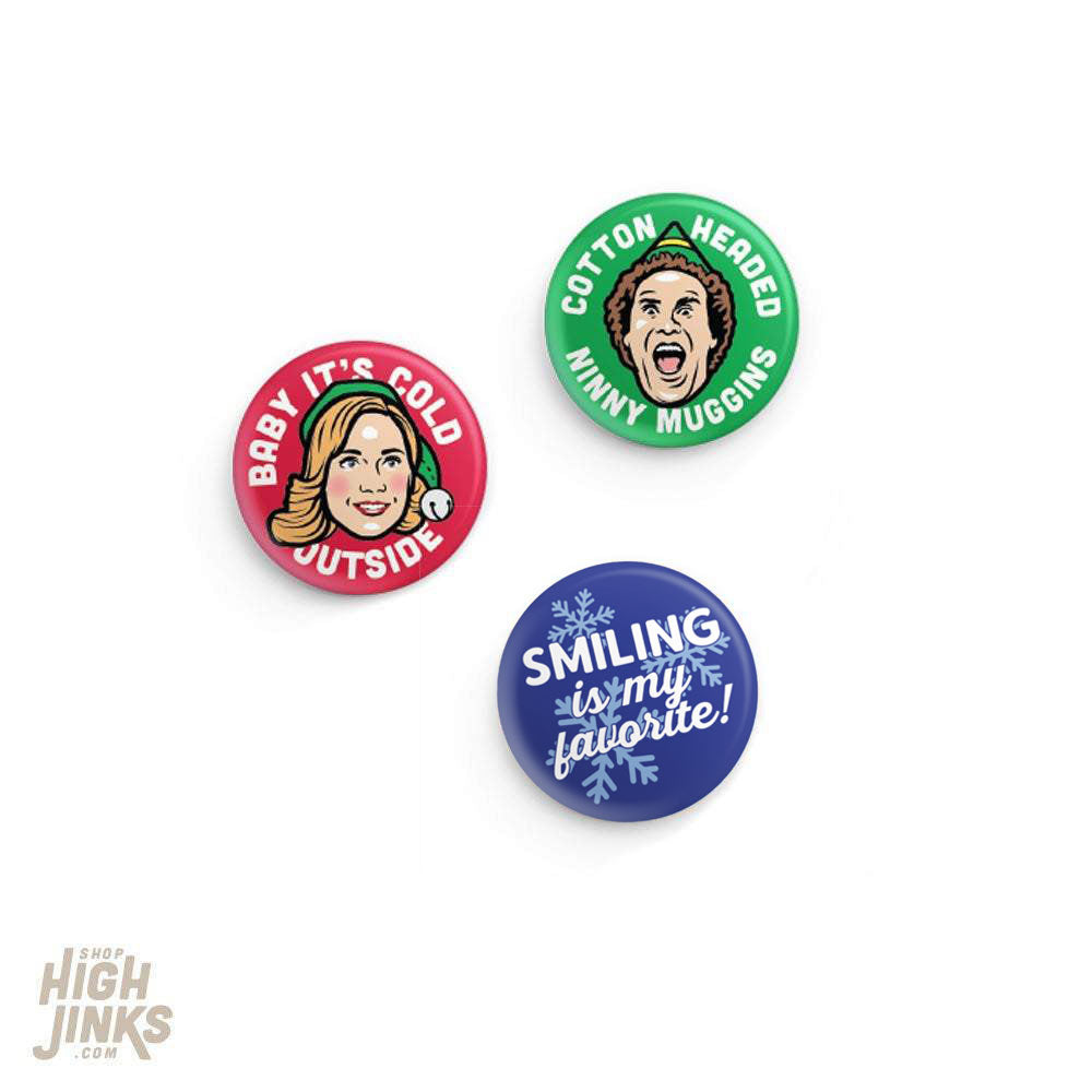Cotton Headed Ninny Muggin Pinback Button Set: 1.25