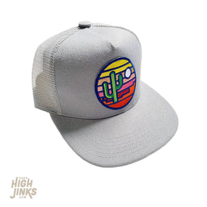Stained Glass Sunset : KIDS Flat Brim Trucker Hat