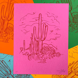 Sketchy Desert : 8.5x11 Screenprint