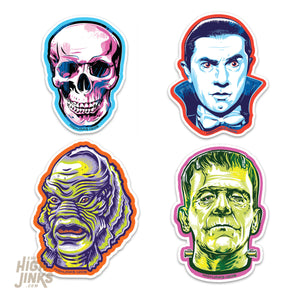 "Classic Halloween Monsters : 3"" Vinyl Sticker Pack"