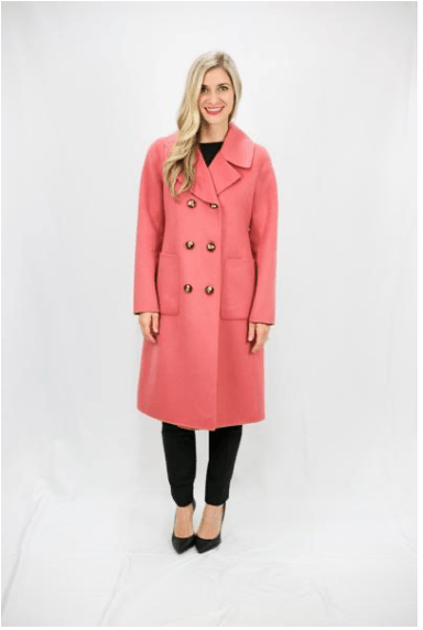 Dusty Rose Luxury Wool & Cashmere Coat - LEONA LEEDF Coat