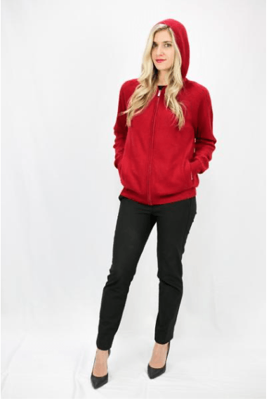 Fire Red Cashmere Knit Hoodie - LEONA LEECardigan, Knit