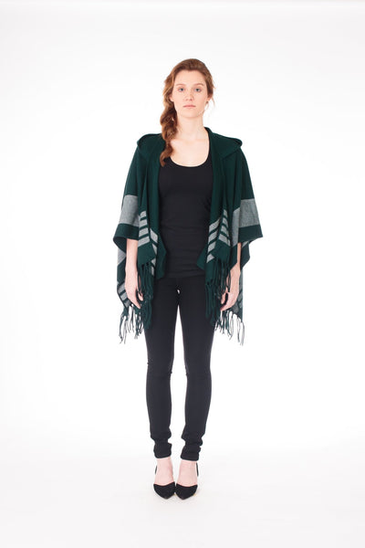 Fringe Knit Cape With Hood - LEONA LEECape