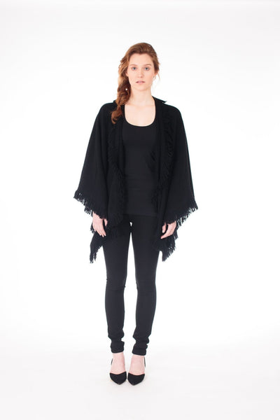 Fringe Knit Cape - LEONA LEECape